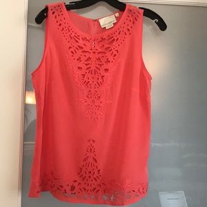 Cynthia Rowley Coral Silk Sleeveless Top